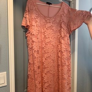 Dusty rose lace dress from Lane Bryant.